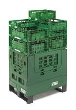 Green Bigbox - pallet version - interstacked with a lot of open green trays III - LR
